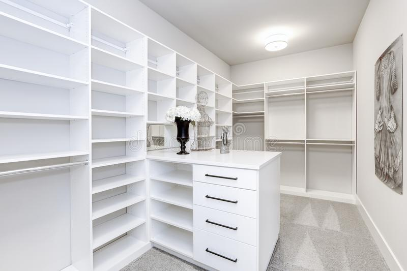Large modern white wardrobe in luxury house stock image