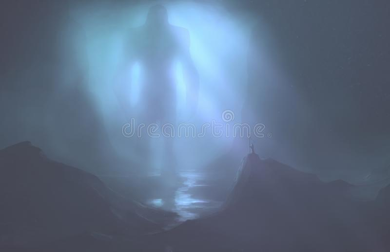 Large monster enters into a cave. Digital illustration of a large monster entering into a dark cave royalty free illustration