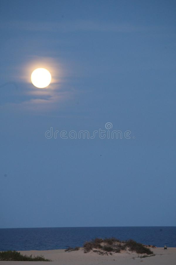 Large moon in a blue skyover the sea in the Natural park in Corralejo Fuerteventura Las Palmas Spain. Large glowing moon in a blue skyover the sea in the Natural stock photo