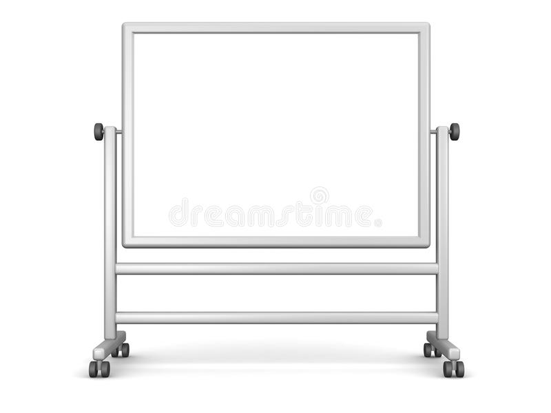 Large Whiteboard. A large movable whiteboard, isolated on white. (3D computer generated image stock illustration