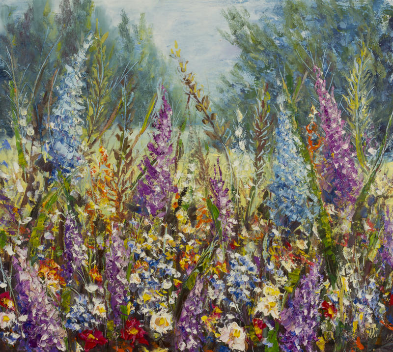 Large multi-colored flowers on a meadow near the forest. Original oil painting large multi-colored flowers on a meadow near the forest on canvas. Impasto artwork royalty free illustration