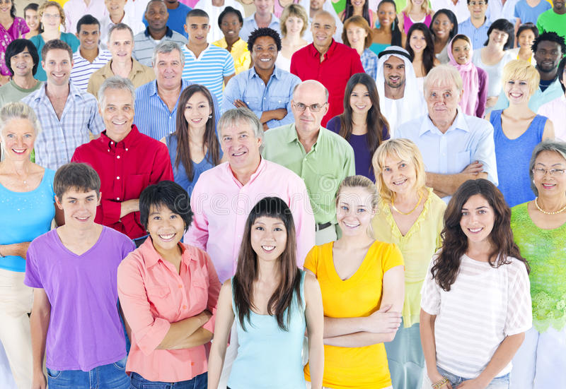 Large Multi-Ethnic Group of People stock photography