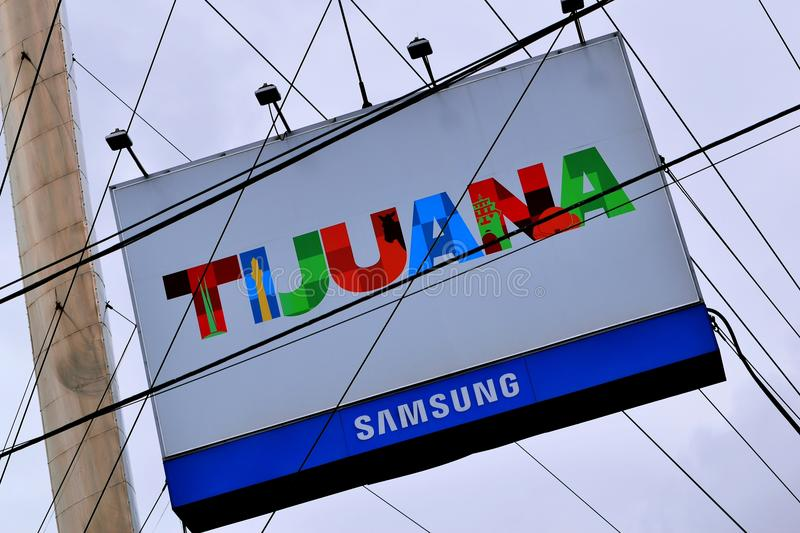 Large Multicolored Sign Reading `Tijuana` Located in Tijuana, Mexico. Tijuana, Mexico - October 20, 2017: Large multicolored sign in Tijuana, Mexico, reading ` stock photography