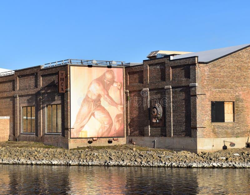 Public art on refurbished warehouse royalty free stock images