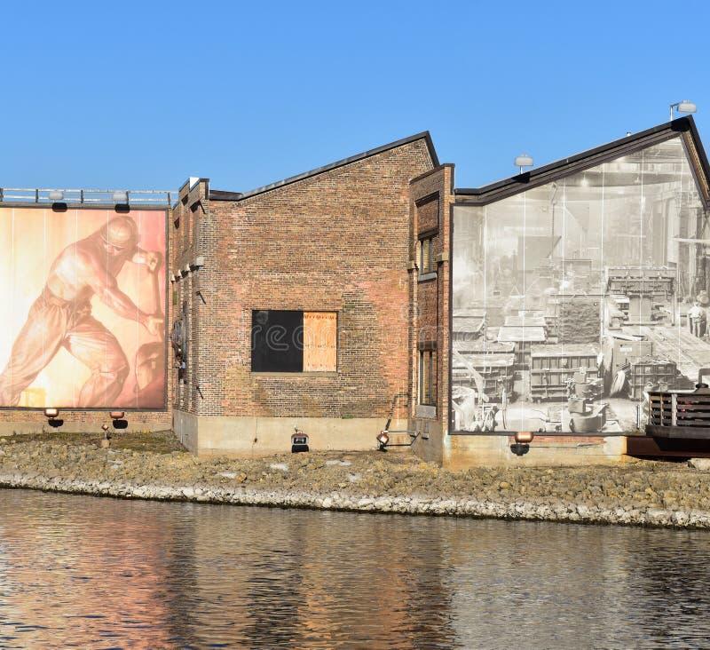 Public art on refurbished warehouse royalty free stock photography