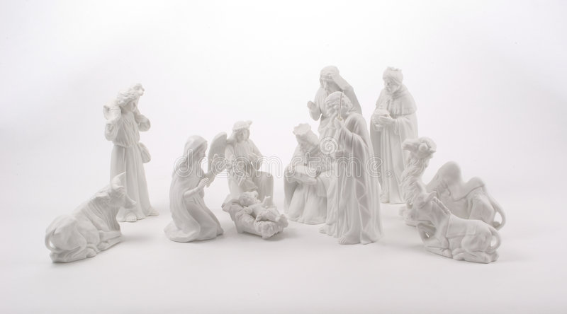 Large Nativity Scene. A large nativity scene including animals, the 3 Kings, a shepherd, an angel and the Holy Family. Figures are white ceramic photographed on
