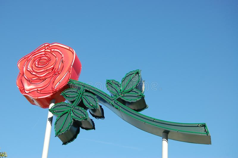 Neon Rose Sign in Portland, Oregon stock photo