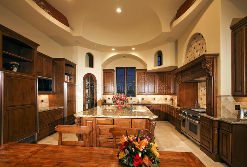 Large New Mansion Home Kitchen royalty free stock photos