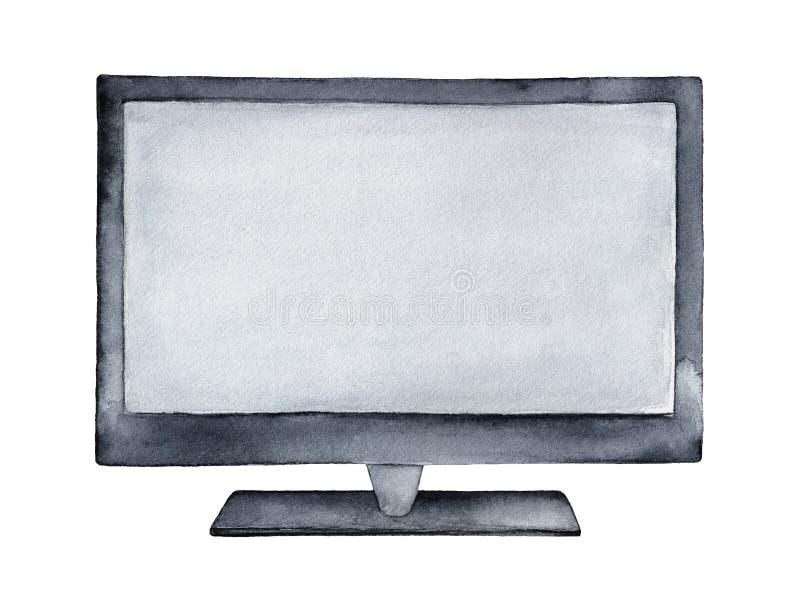Large new TV or computer monitor illustration. stock illustration