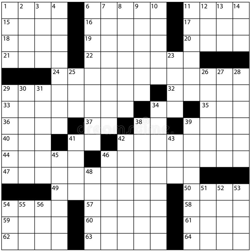 Download Large Newspaper Crossword Puzzle Grid Numbers Stock Illustration