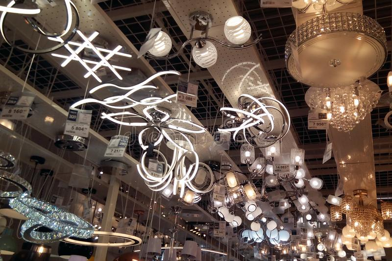A large number of ceiling lamps royalty free stock photos