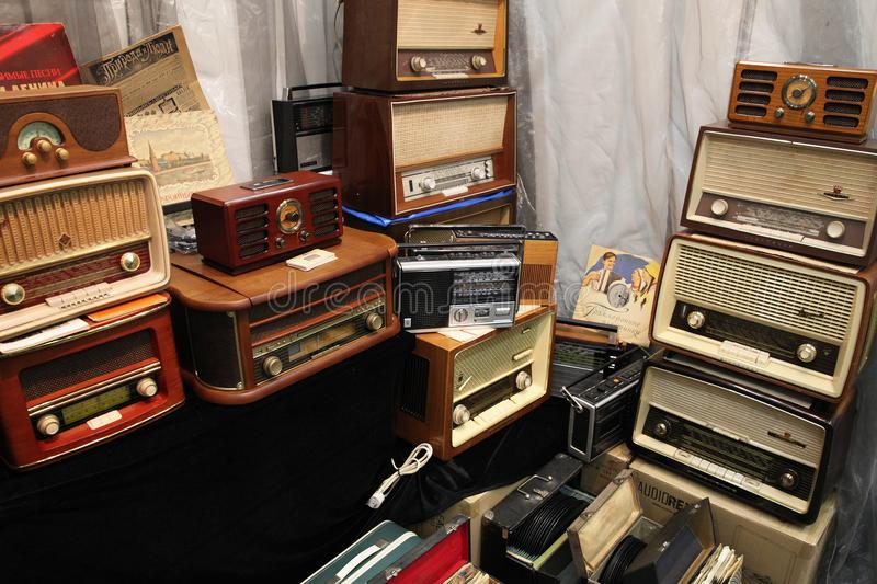 Large number of different old radios stock photo