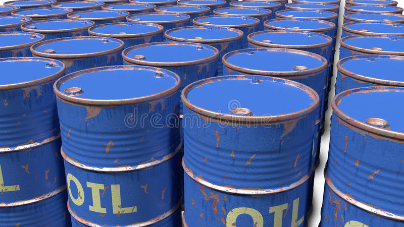 Large number of dirty worn scratched oil barrels. Large number of dirty worn scratched blue oil barrels stock images