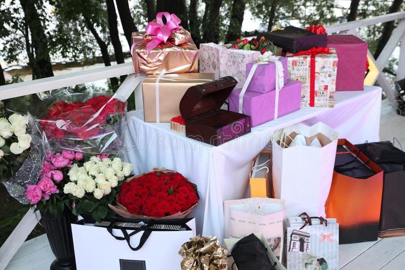 Large number of flowers and gifts. Beautiful Large number of flowers and gifts stock images
