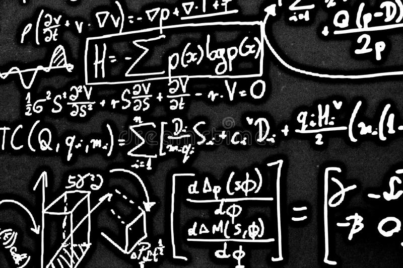 Large number of mathematical formulas on white background HDR. Large number of mathematical formulas on a white background HDR stock photos
