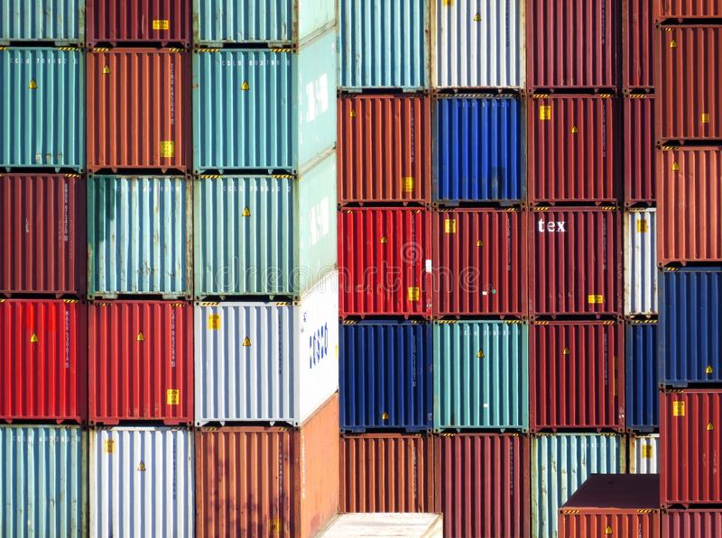 Shipping Containers stacked in Los Angeles. A large number of shipping containers stacked up in the Port of Los Angeles royalty free stock image