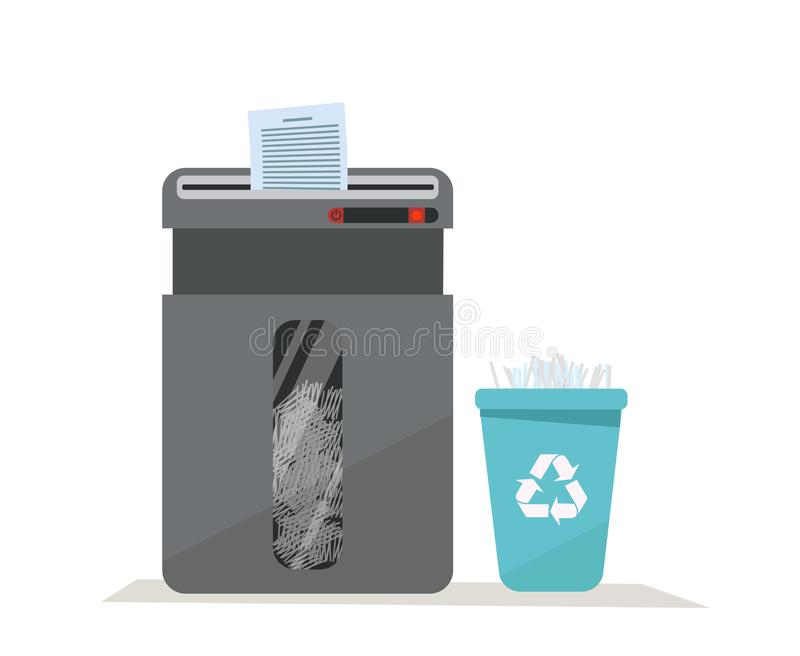 Large office floor shredder full of cut paper and a basket for recycling paper waste on white background. Recycle bin with sign of stock illustration