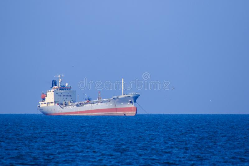 Large oil tankers at sea royalty free stock images