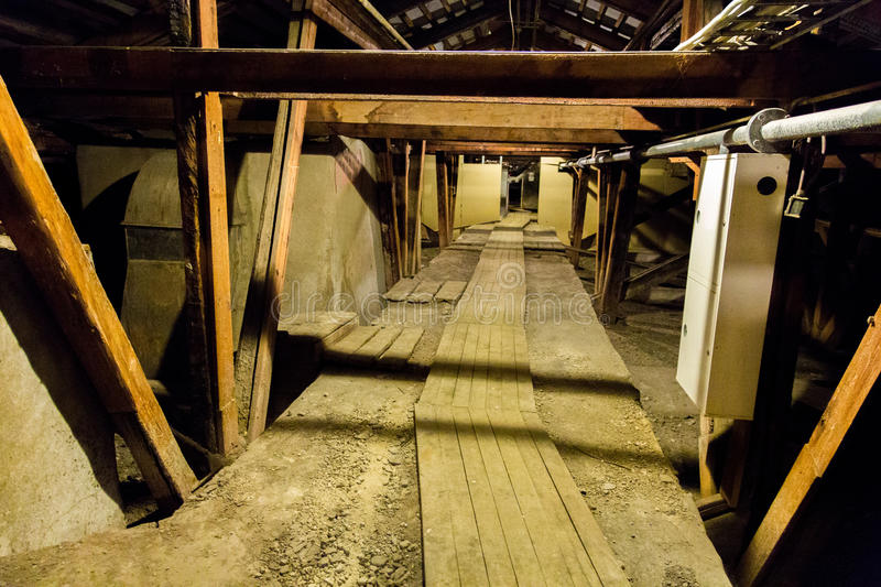 Large old attic stock image
