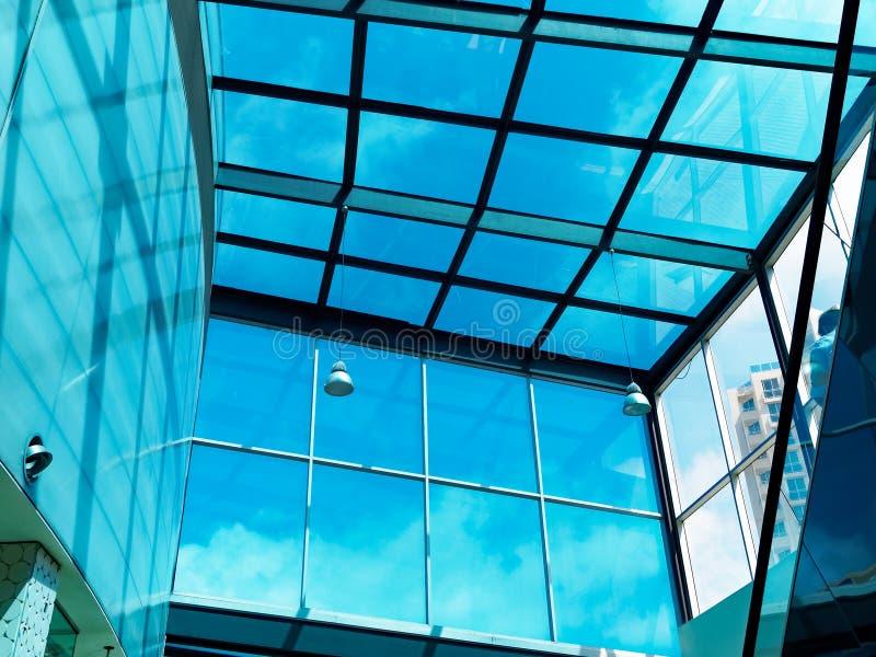 Large Blue Plate Glass Atrium stock image