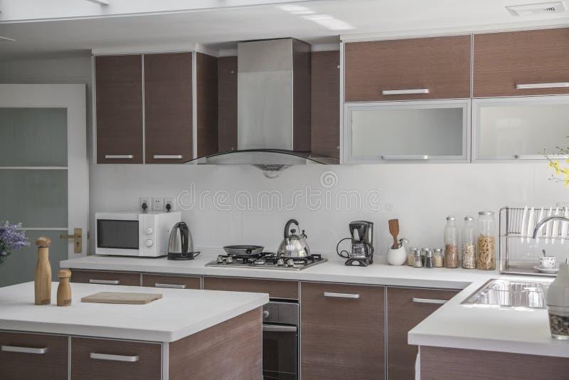 Large, open, modern kitchen. royalty free stock image