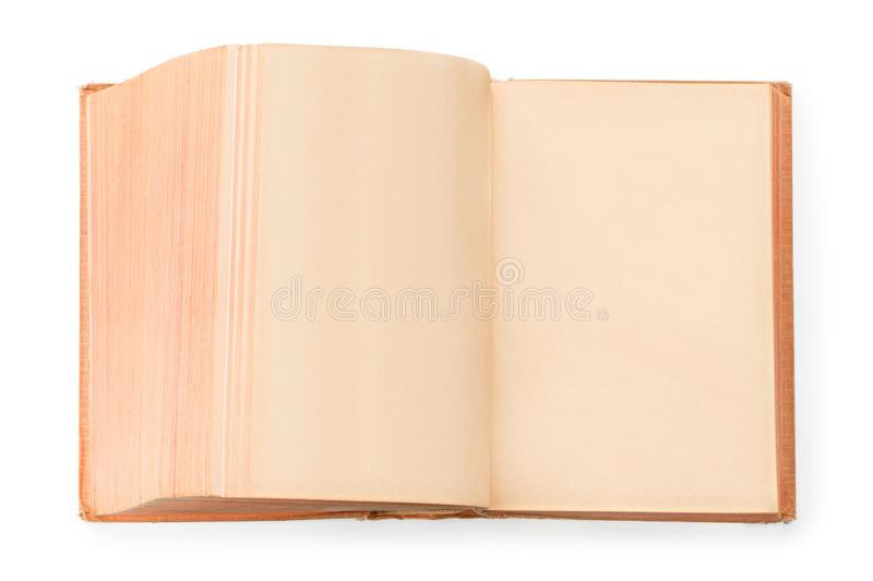 Large open vintage book with blank pages isolated with clipping path stock image