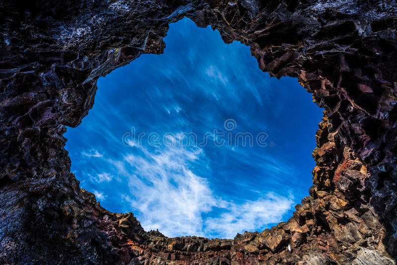 Large opening Indian Tunnel Lava Tubes Cave stock photo