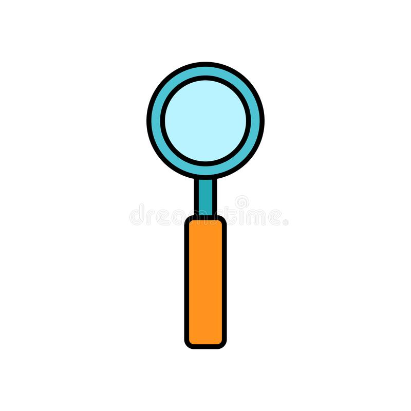 Large optical magnifier with a handle for approaching and searching, a simple icon on a white background. Vector illustration stock illustration