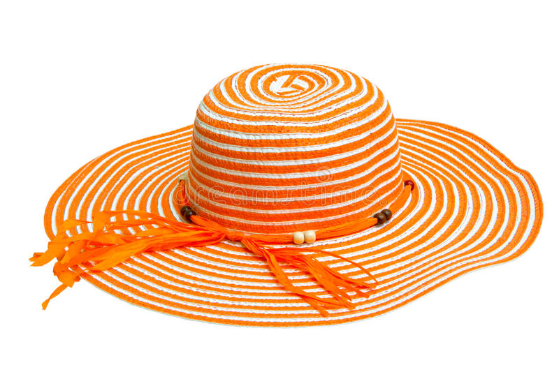A large orange ladies hat. Isolated on white stock photo