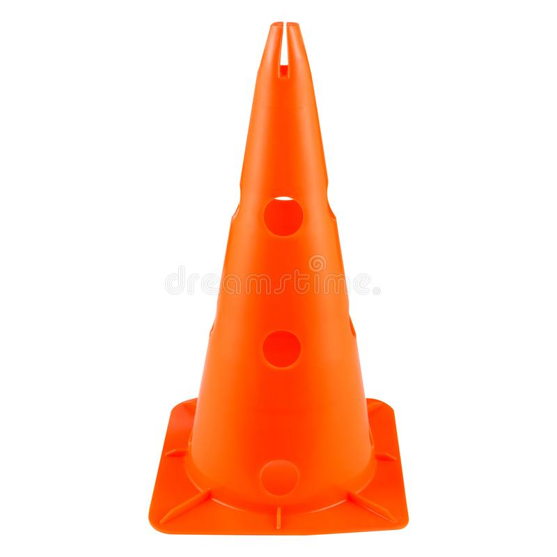 Large orange road cone on a white background, restriction of movement, for training and for banning royalty free stock image