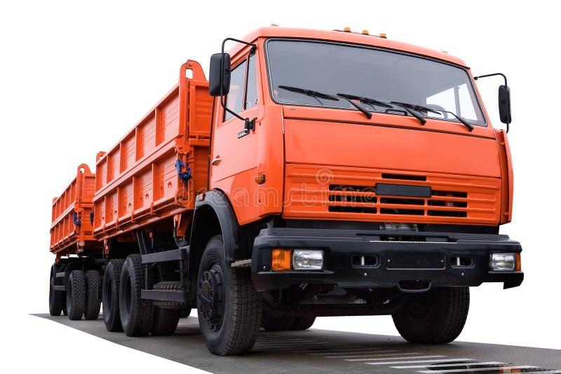 Large orange truck stock images