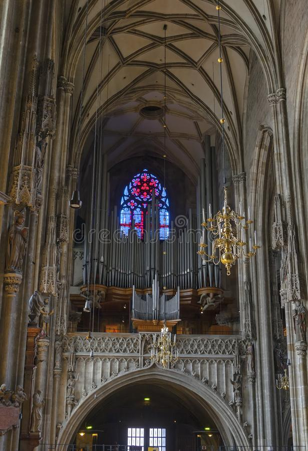 Large organ in the St. Stephen`s Cathedral stock image