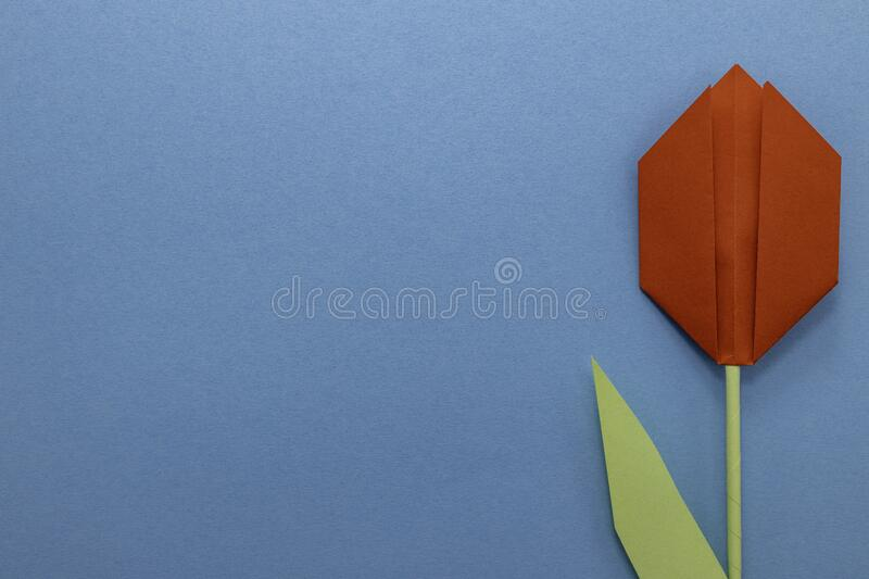 Large origami paper red tulip on a blue background. royalty free stock images