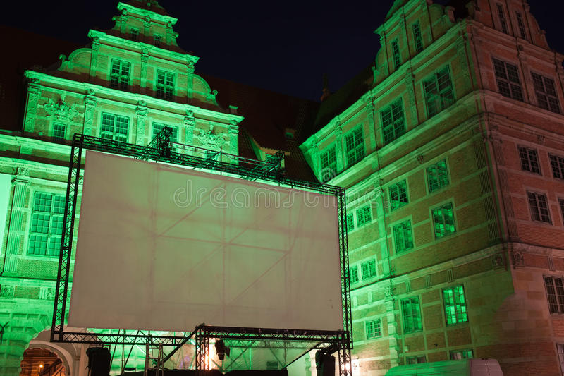 download large outdoor movie projector screen at night stock photo image