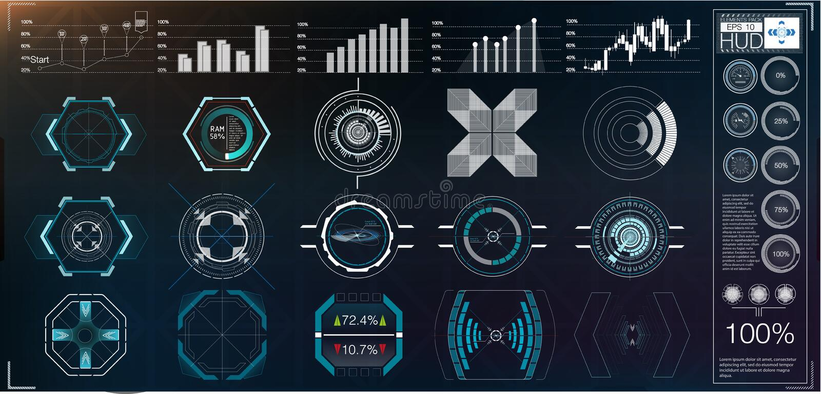 A large package of hud elements, graphics, displays, analog and digital instruments, radar scales. Abstract HUD. vector illustration