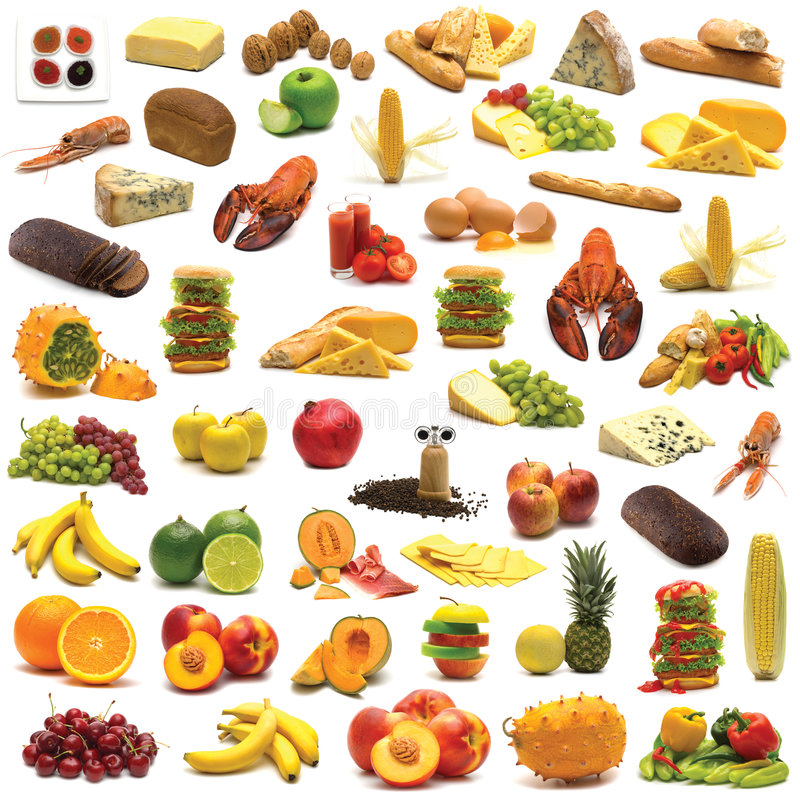 Large page of food assortment stock illustration