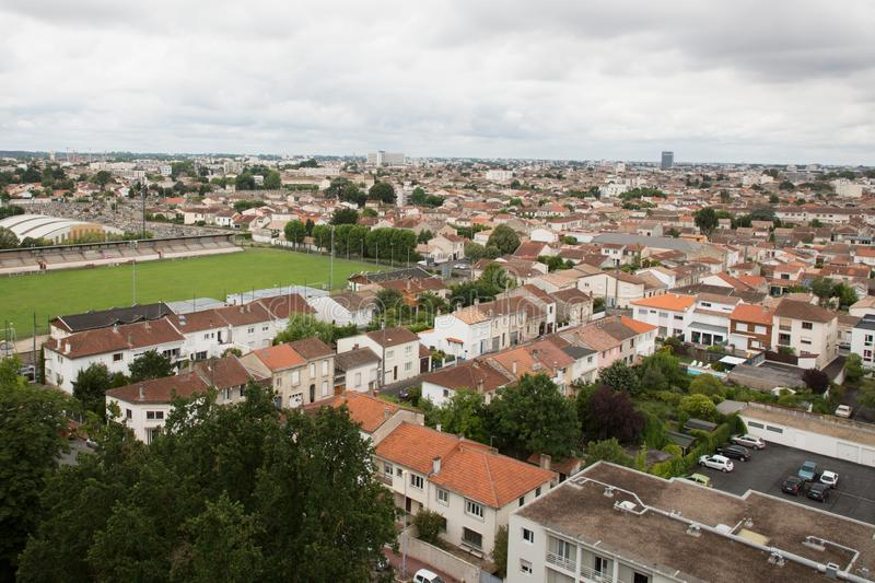 Panorama view of west of city of Bordeaux in France stock images