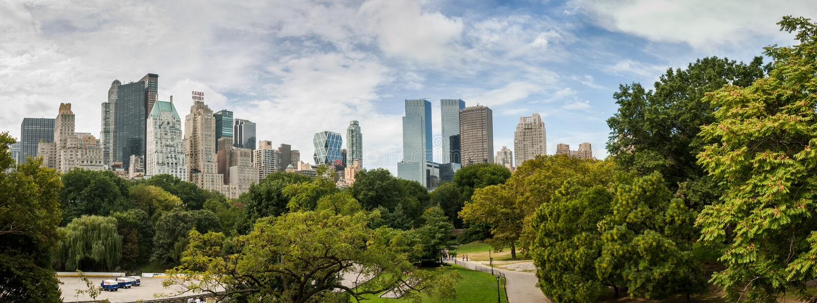 Large panoramic view from Central Park to Manhattan skyscrapers at sunny day. New York City stock photo