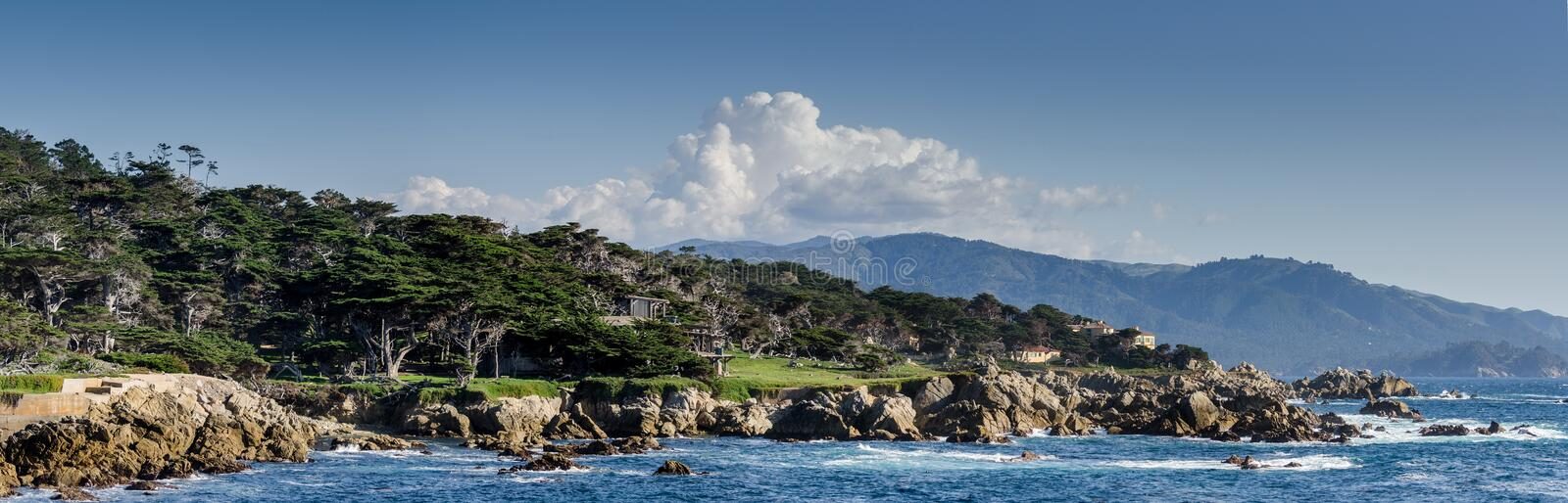 Large panoramic view of Coastline along the 17 Mile Drive in Pebble Beach of  Monterrey Peninsula. California stock images