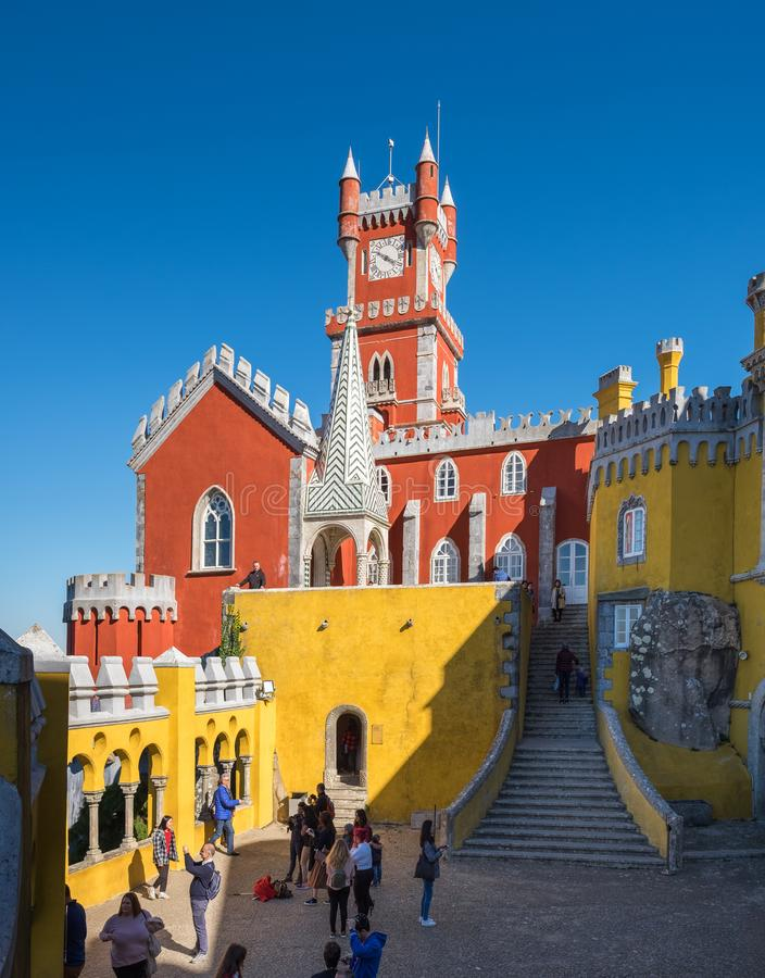 Free Large Panoramic View Of Pena Palace (Portuguese: Palacio Da Pena) Is A Romanticist Castle In The Municipality Of Sintra, Portugal Stock Images - 140870474
