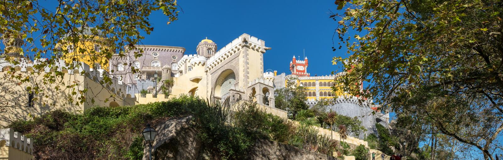 Large panoramic view of Pena Palace Portuguese: Palacio da Pena is a Romanticist castle in the municipality of Sintra. Portugal stock photo