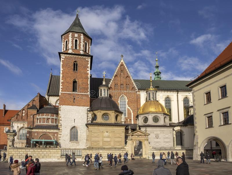 Large panoramic view of Wawel Cathedral, inside the Wawel Castle in Krakow, Poland. KRAKOW, POLAND - DECEMBER 9, 2019: Large panoramic view of Wawel Cathedral royalty free stock image