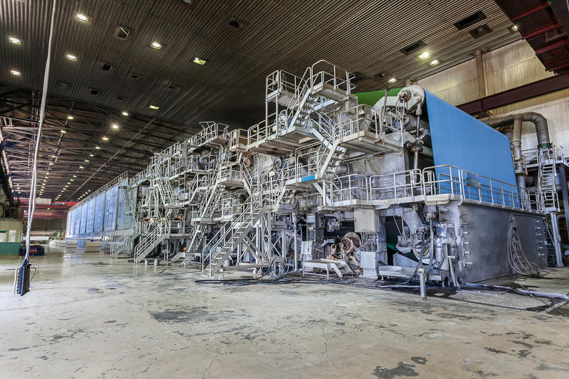 A large paper machine in the production area stock photo