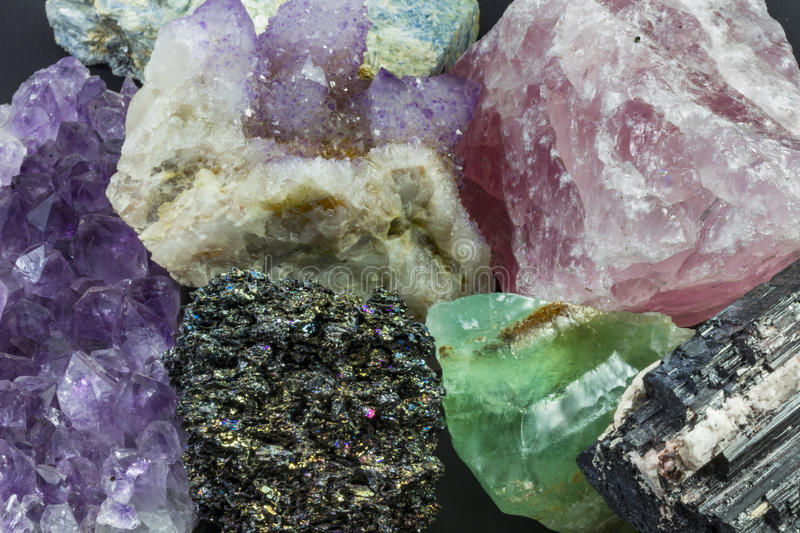 Large pieces of Various Crystals. Large pieces of Various Colorful Crystals royalty free stock image