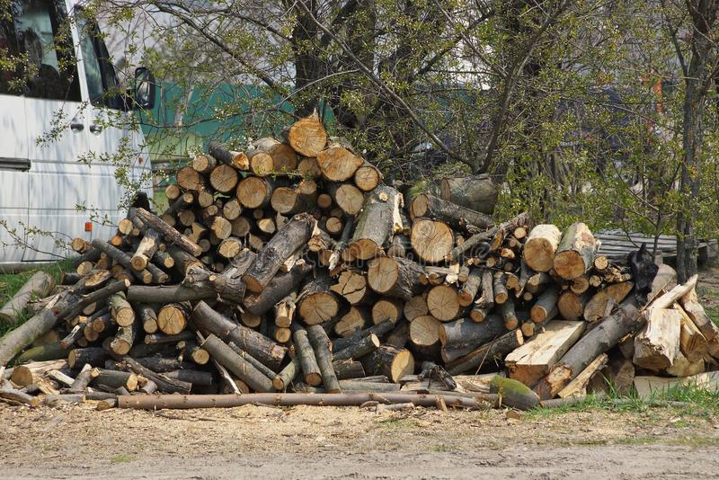 A pile of brown logs and firewood lying on the street on the ground royalty free stock images