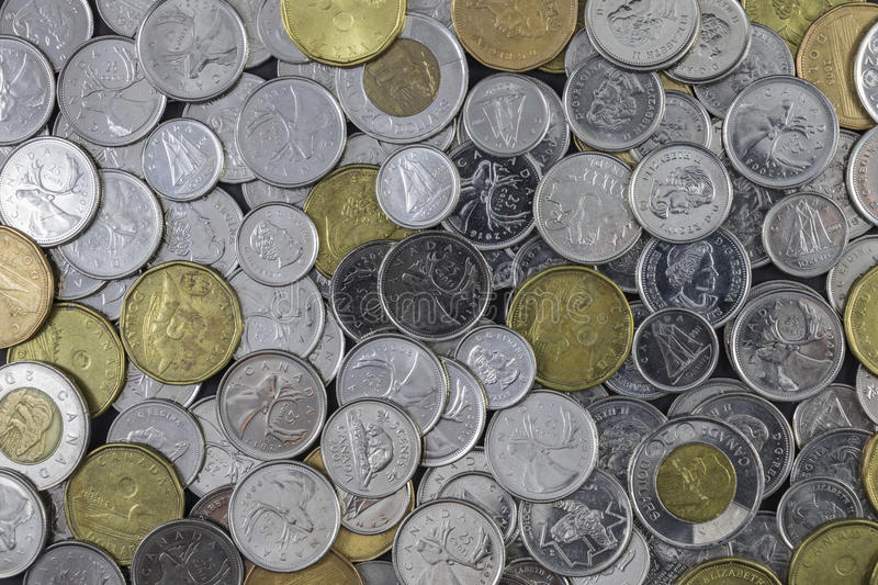 Large Pile of Canadian Change. A Large Pile of Canadian Change stock photography