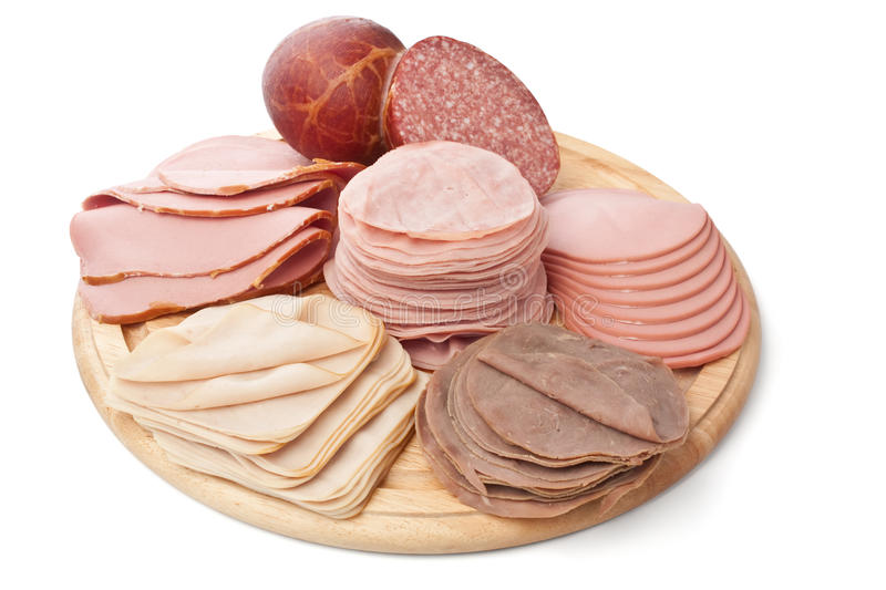 Large Pile of Slised Cold Meats royalty free stock image