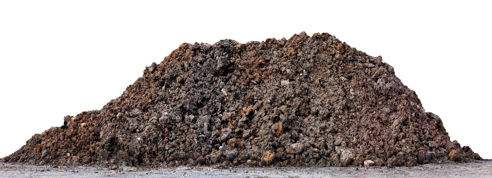 A large pile of thick Dark brown black, Wet brown soil mountain shape, Clay pile soil for Planting isolated on white Background stock image