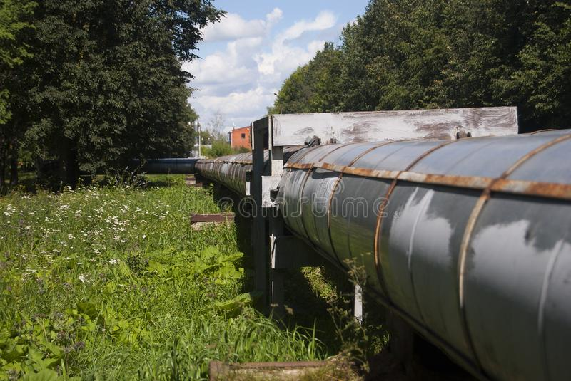 Large pipe for heat transfer. City communications. stock photo