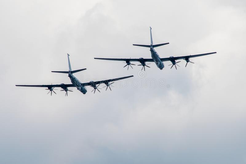 Large planes fly away stock photo